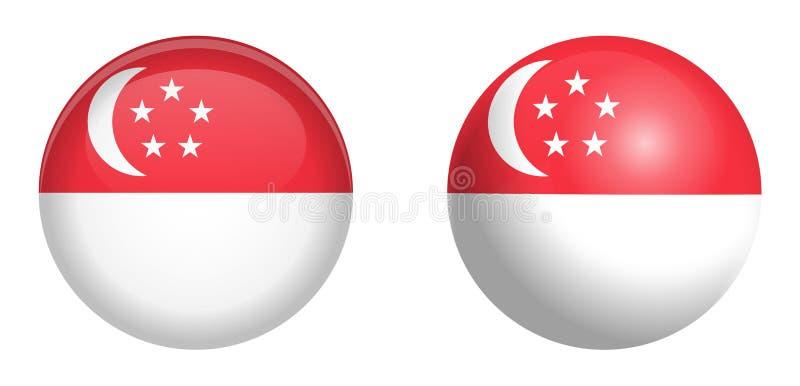 新加坡旗子在3d圆顶按钮下和在光滑的球形/球 向量例证
