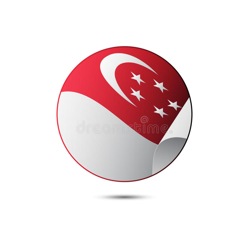 新加坡有阴影的旗子按钮在白色背景 向量 向量例证