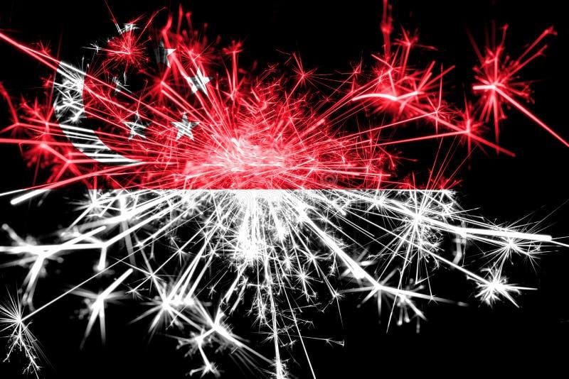 新加坡烟花闪耀的旗子 新年2019年和圣诞晚会概念 皇族释放例证