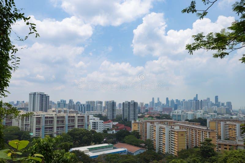 新加坡的高层建筑物在城市 免版税库存图片