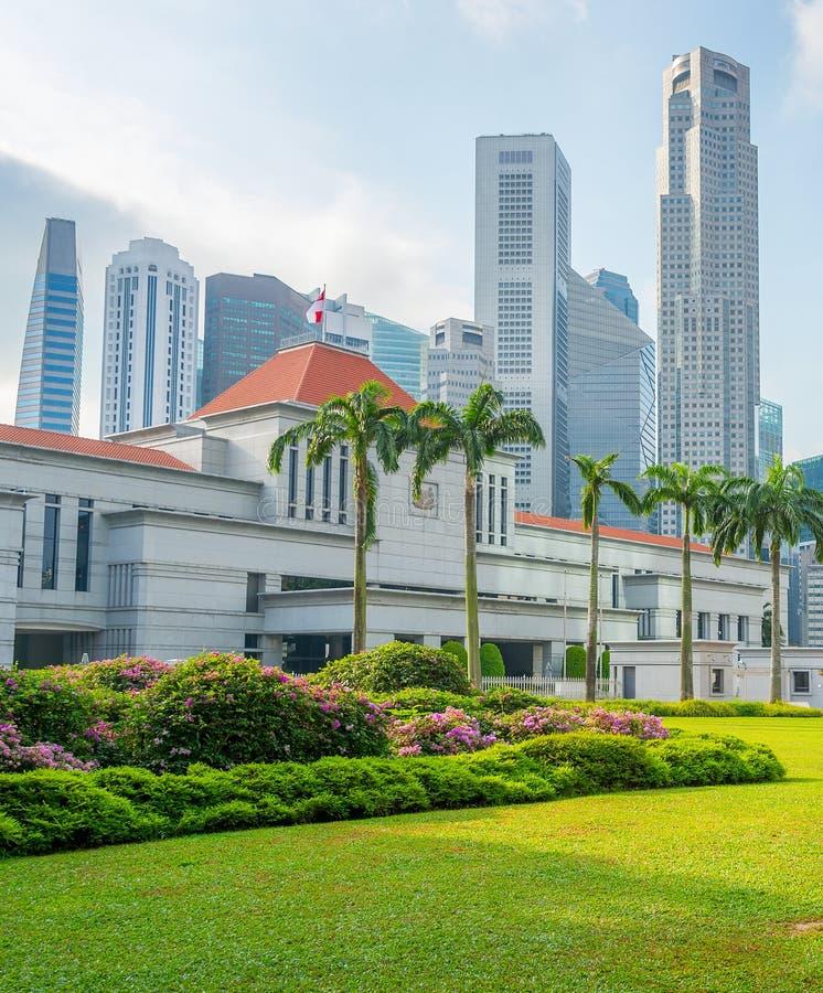 新加坡议会和城市地平线 库存图片