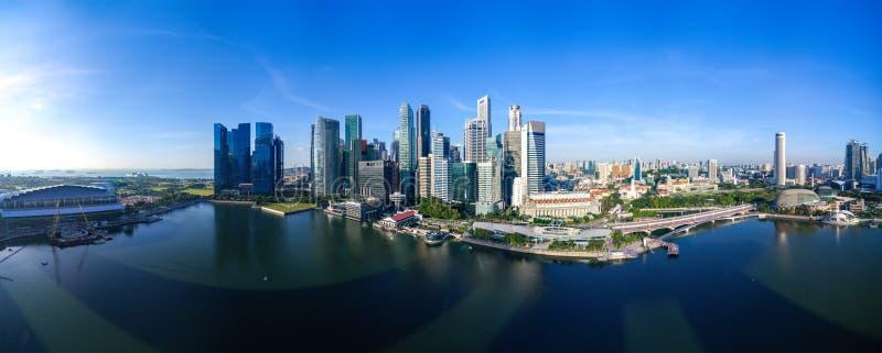 新加坡都市风景全景鸟瞰图早晨 库存照片