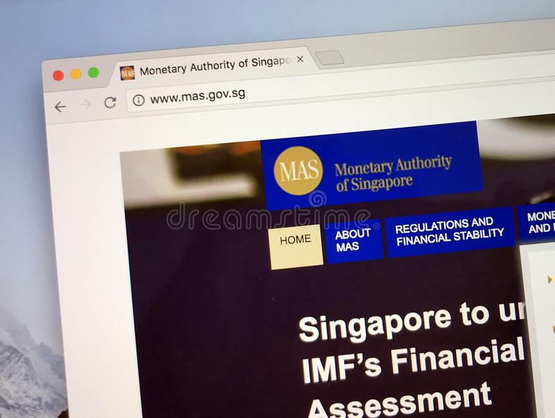 新加坡金融管理局的网站  库存图片