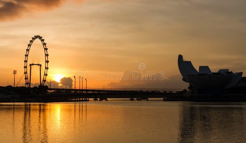新加坡飞行物清早视图  免版税库存照片