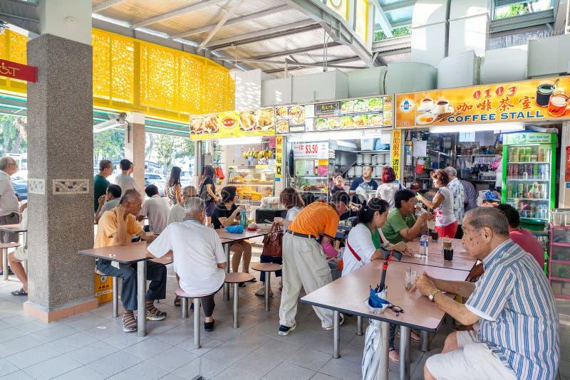 新加坡食品店在黄埔叫卖小贩中心 免版税图库摄影