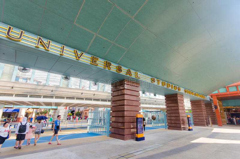 新加坡,新加坡- 2014年9月21日:环球影业新加坡入口在新加坡依靠世界 图库摄影