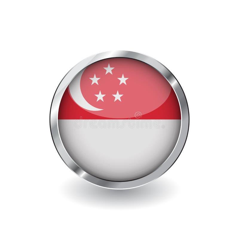 新加坡,有金属框架和阴影的按钮旗子  新加坡旗子传染媒介象、徽章与光滑的作用和金属边界 r 向量例证