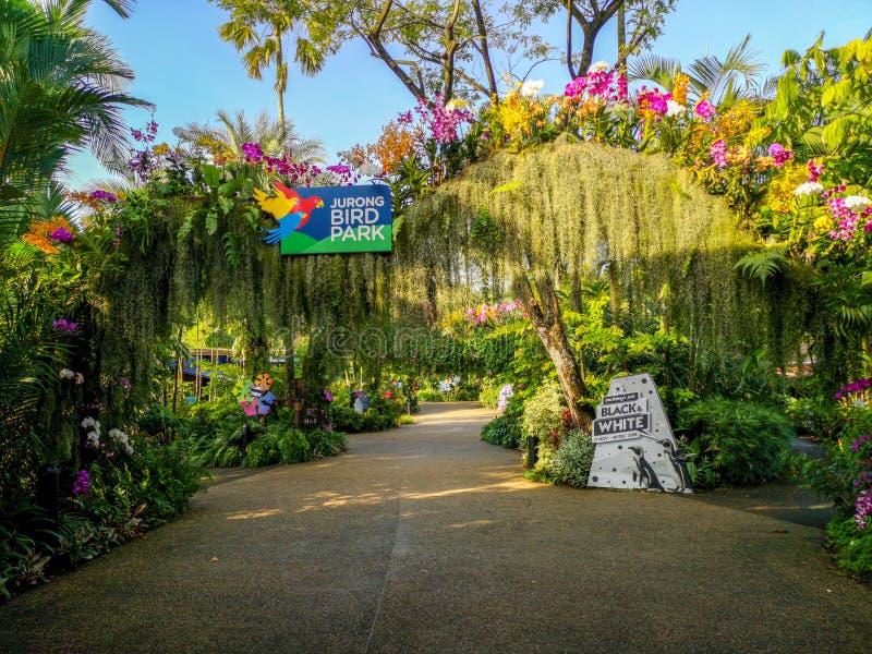 新加坡- 2018年12月:在句容飞禽公园,新加坡的入口 免版税库存照片