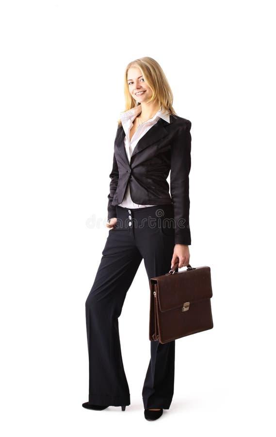 新可爱的白肤金发的女商人 免版税库存图片