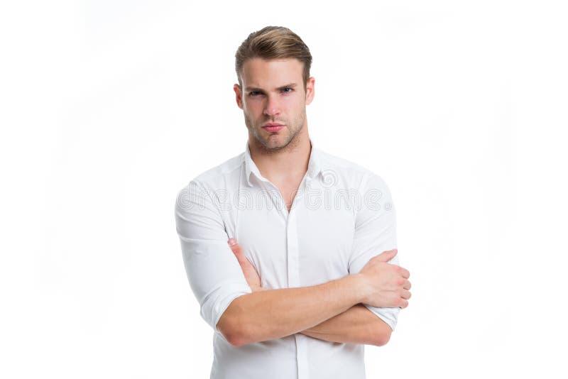 新和确信 供以人员穿着考究的白色典雅的衬衣被隔绝的白色背景 强壮男子确信准备工作办公室 免版税库存图片