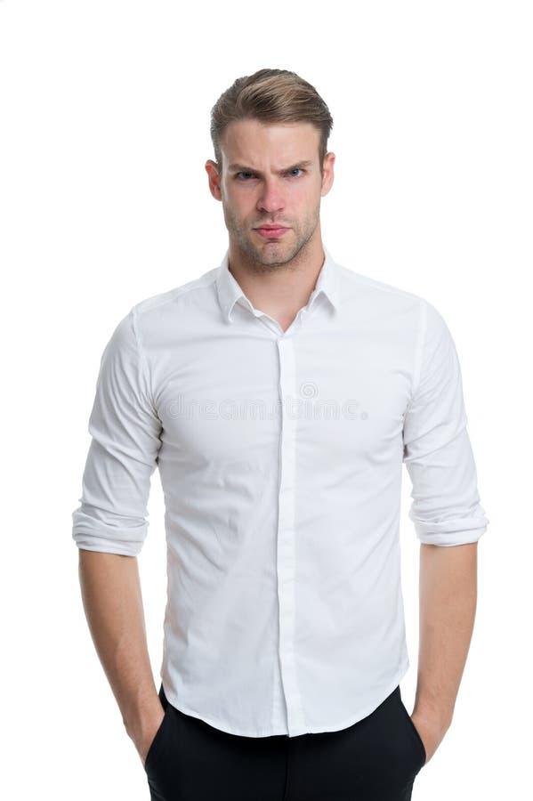 新和确信 供以人员穿着考究的被解扣的白领典雅的衬衣被隔绝的白色背景 强壮男子确信 库存图片
