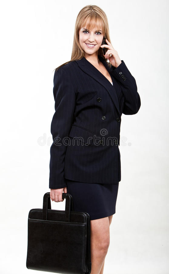 新和美丽的白肤金发的白种人女实业家 库存图片