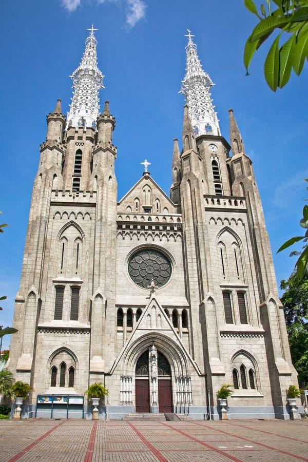 新哥特式天主教大教堂在雅加达, Java的, Indon 库存照片