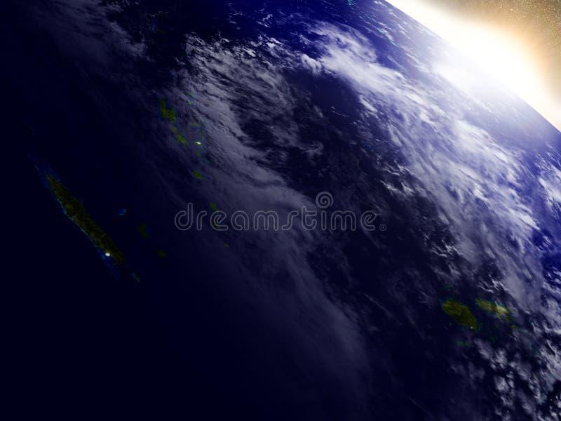 新喀里多尼亚、斐济和瓦努阿图从空间在日出期间 皇族释放例证