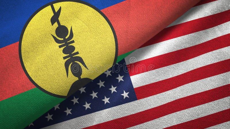 新喀里多尼亚和美国两旗纺织布,织物质地 免版税图库摄影