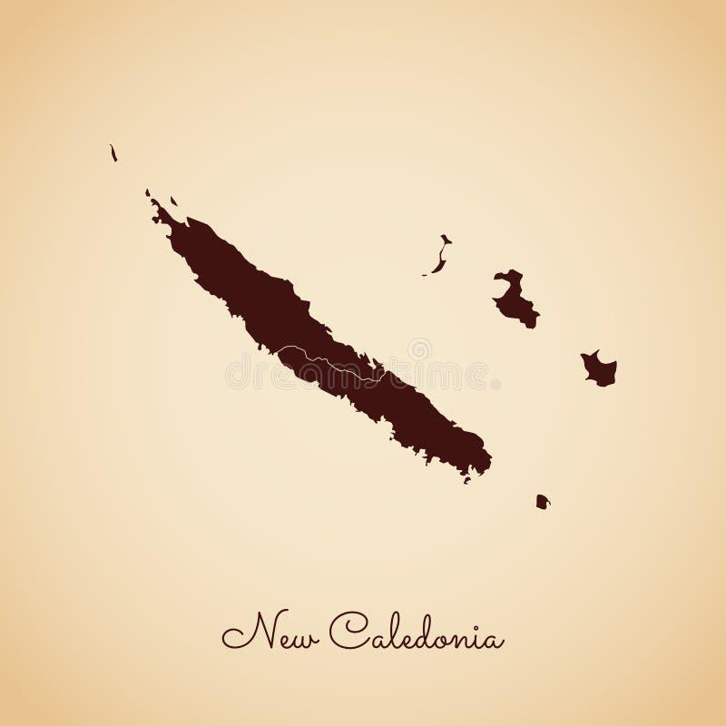 新喀里多尼亚地区地图:减速火箭的样式褐色 库存例证