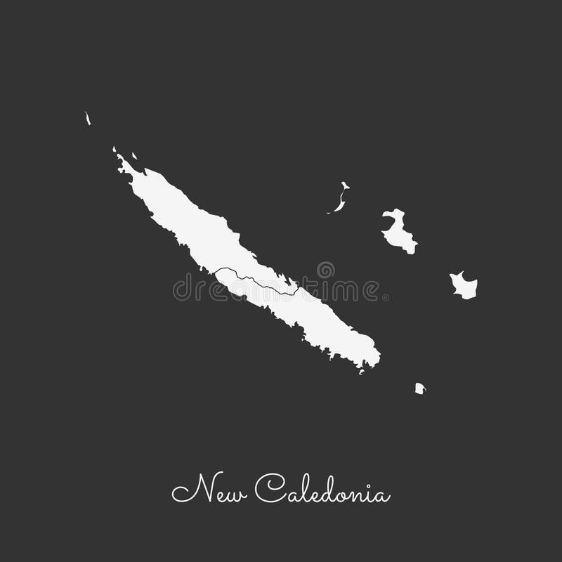 新喀里多尼亚地区地图:在灰色的白色概述 向量例证