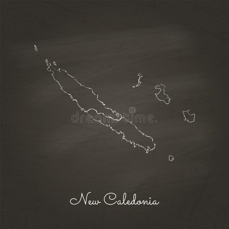 新喀里多尼亚地区地图:手拉与白色 皇族释放例证