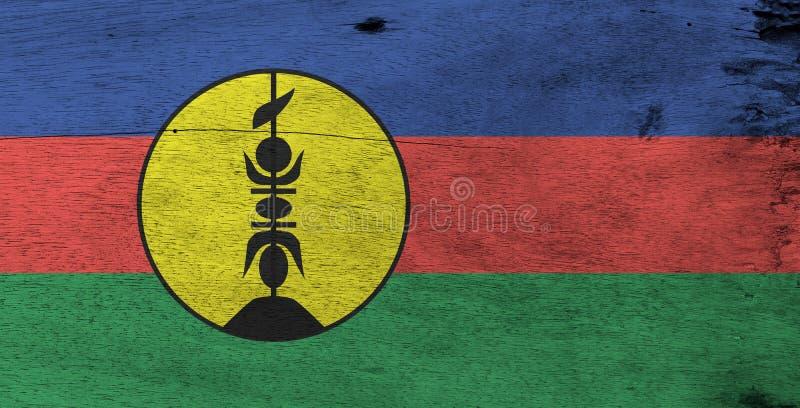 新喀里多尼亚的旗子木板材背景的 难看的东西新喀里多尼亚旗子纹理 免版税库存照片