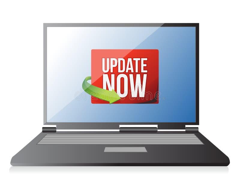 更新在膝上型计算机屏幕上现在标记 库存例证