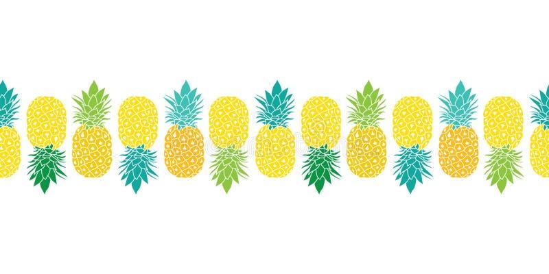 新在黄色,蓝色和绿色的菠萝传染媒介重复无缝的水平的Pattrern边界 伟大为织品 皇族释放例证