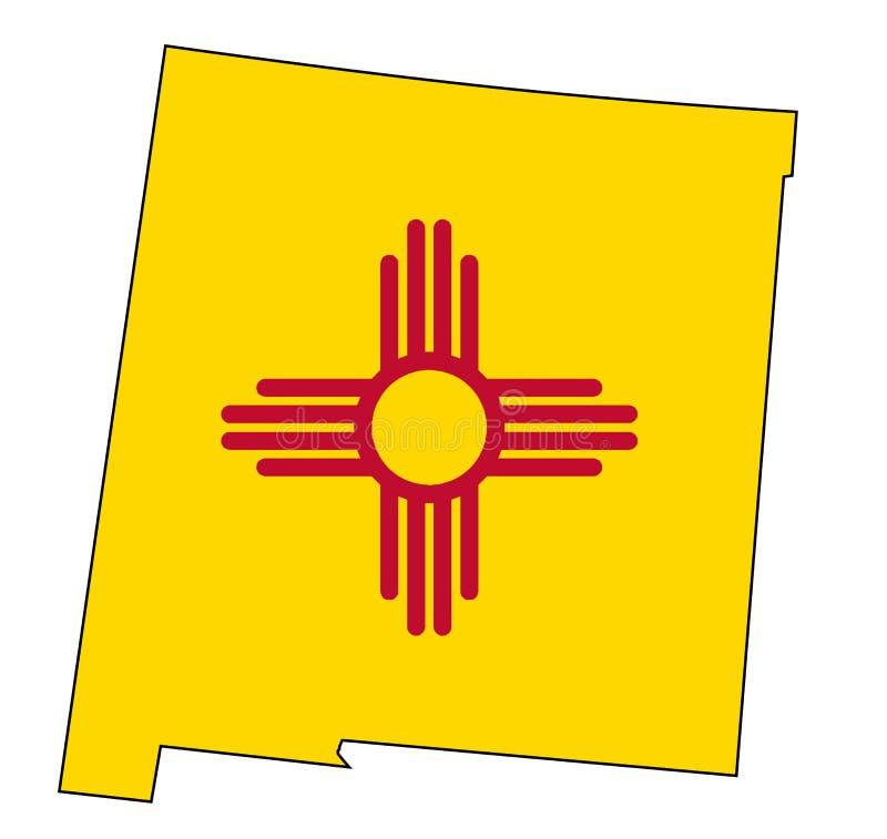 新墨西哥概述地图和旗子 皇族释放例证
