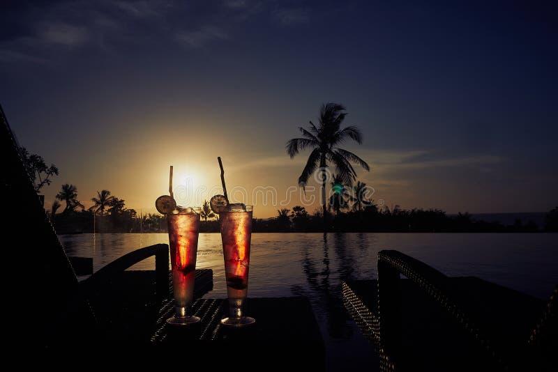 新夏天冷的酒精饮料异乎寻常的鸡尾酒 库存照片