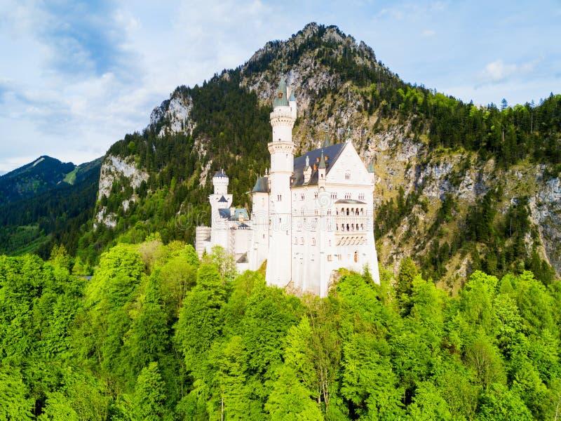 新天鹅堡城堡鸟瞰图 免版税图库摄影