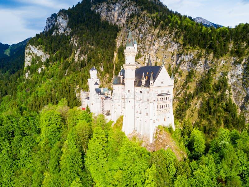 新天鹅堡城堡鸟瞰图 图库摄影