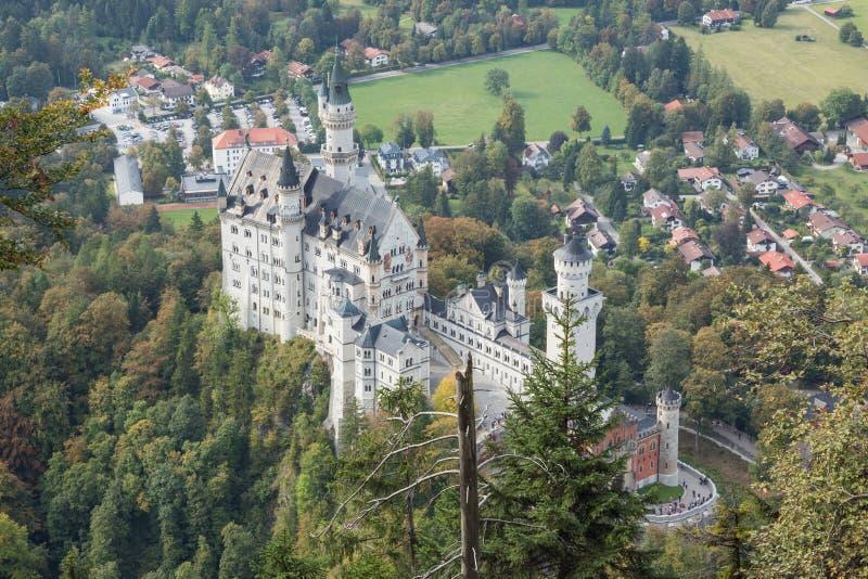 新天鹅堡城堡鸟瞰图  免版税库存照片