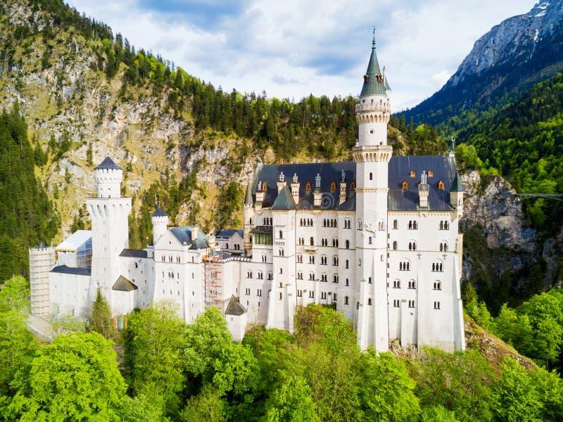 新天鹅堡城堡鸟瞰图 库存照片