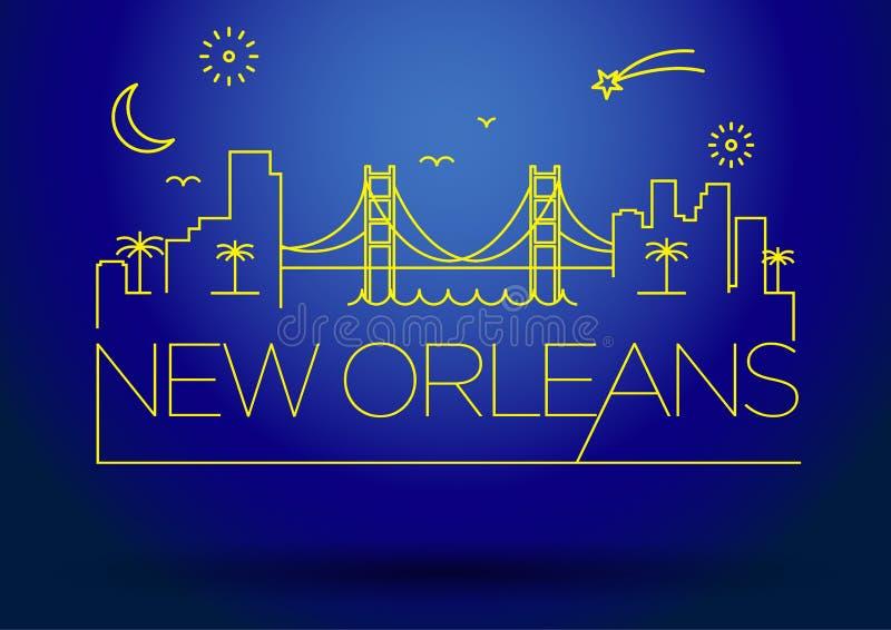 新奥尔良市线型剪影 向量例证