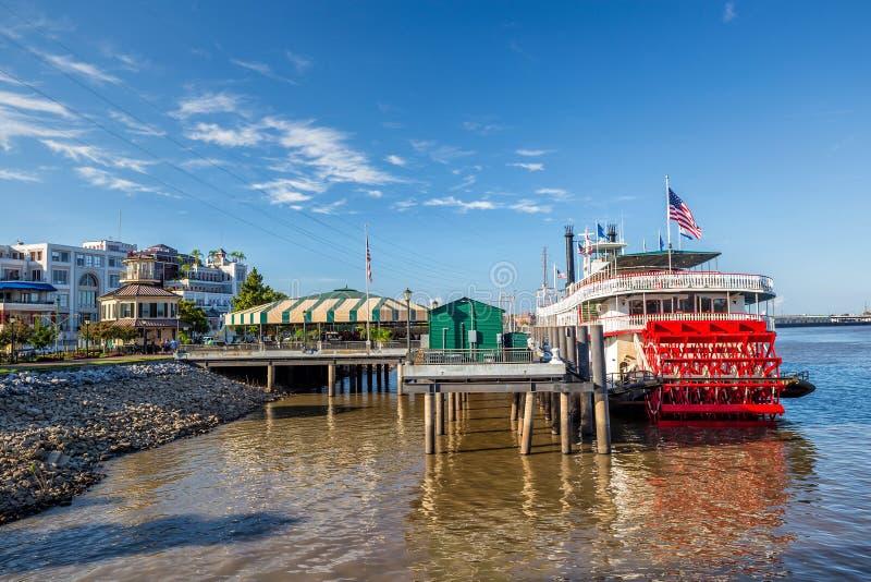 新奥尔良明轮船在密西西比河在新奥尔良 免版税图库摄影