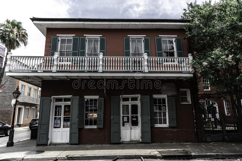 新奥尔良法国区和它的偶象阳台 库存照片