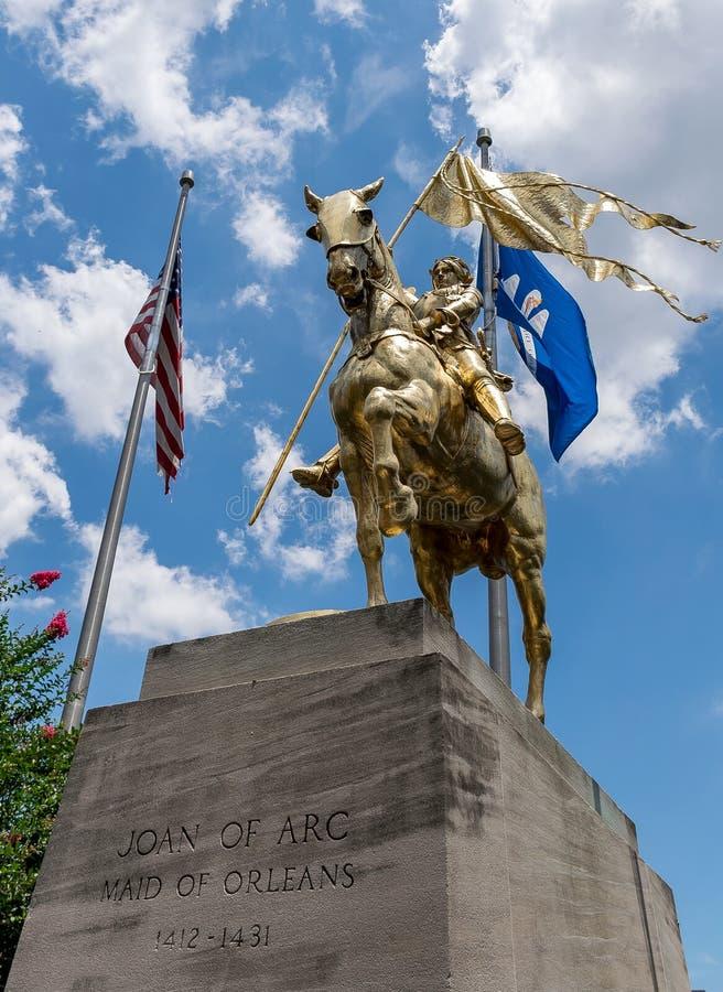 新奥尔良法国街区圣贞德雕象 库存图片