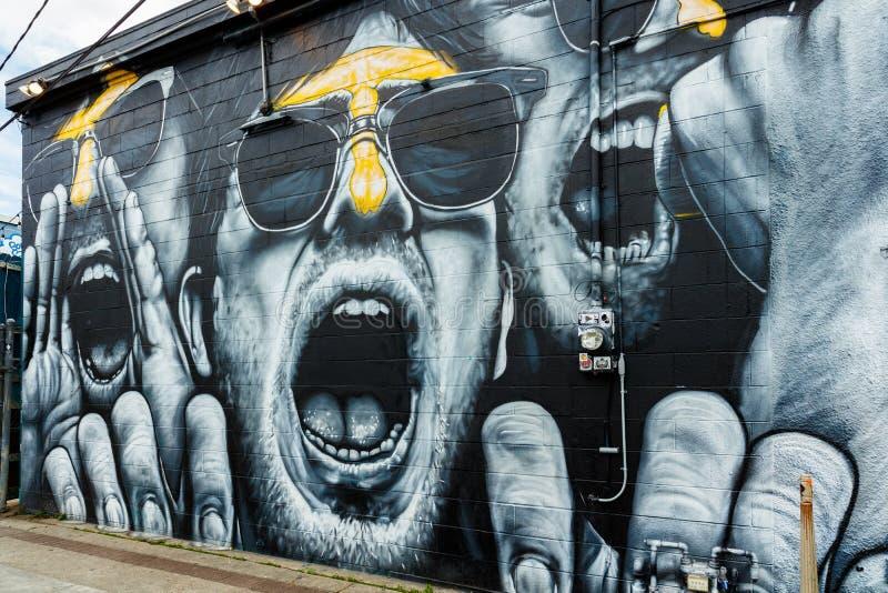 新奥尔良街道画墙壁 库存照片