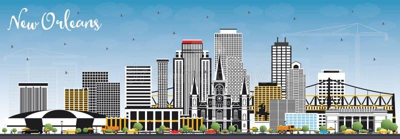 新奥尔良路易斯安那与灰色大厦和蓝色的市地平线 库存例证