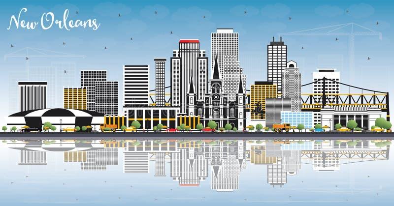 新奥尔良路易斯安那与灰色大厦的市地平线,蓝天 向量例证