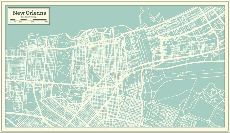 新奥尔良路易斯安那美国在减速火箭的样式的市地图 黑白向量例证 皇族释放例证
