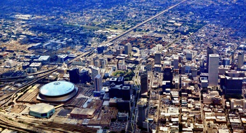 新奥尔良, LA鸟瞰图  免版税库存照片