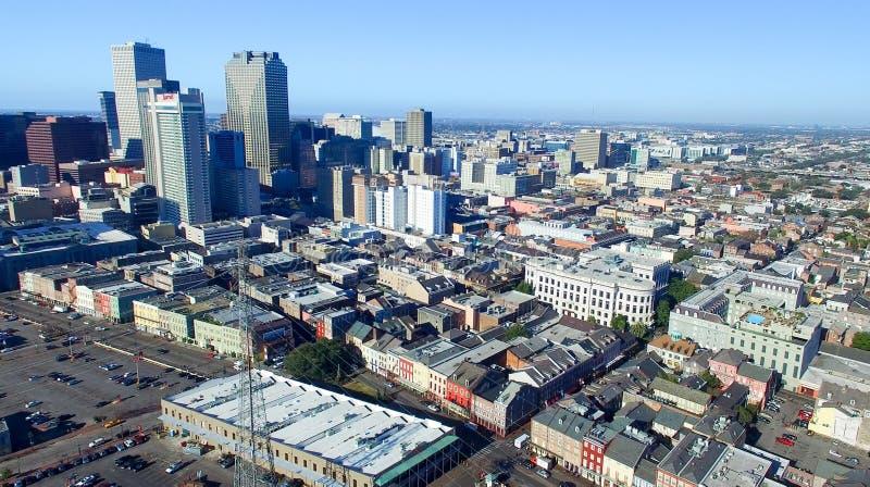 新奥尔良, LA - 2016年2月:空中城市视图 新奥尔良a 免版税库存图片
