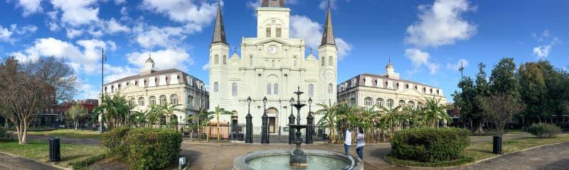 新奥尔良- 2016年2月:杰克逊广场全景  n 库存照片