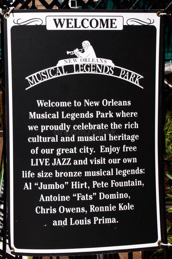 新奥尔良-音乐说明公园 免版税库存图片