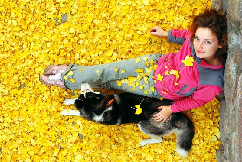 新女性和她的在划分为的叶子的狗 免版税图库摄影
