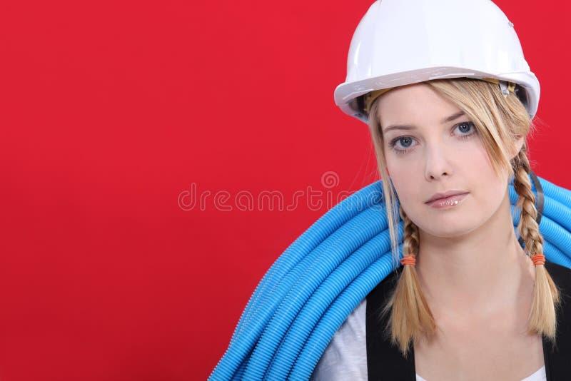 新女性管道工 库存图片