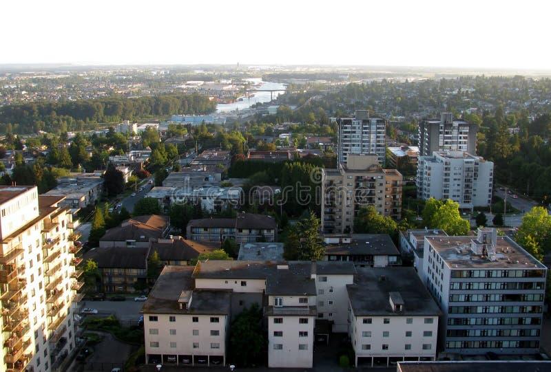 新威斯敏斯特鸟瞰图,BC,加拿大 库存图片