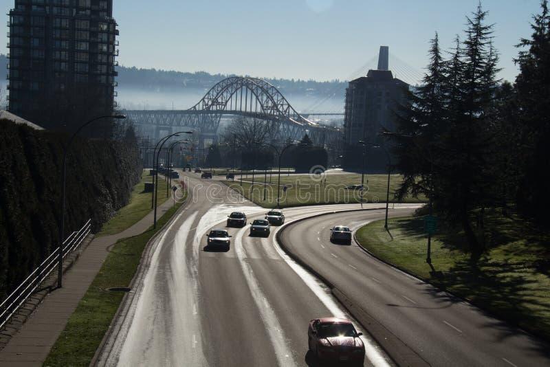 新威斯敏斯特McBride St和Pattullo桥梁 免版税库存图片
