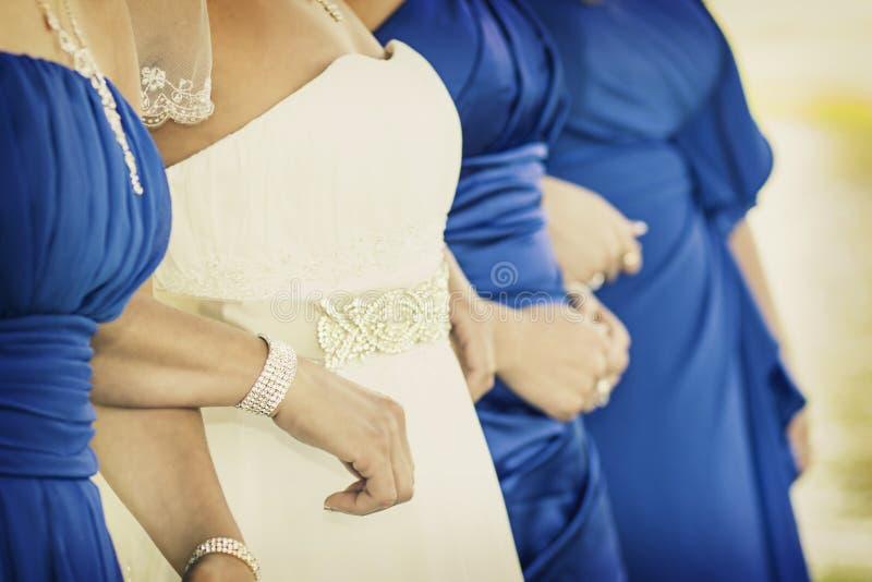 新娘、女傧相和金刚石 免版税库存图片