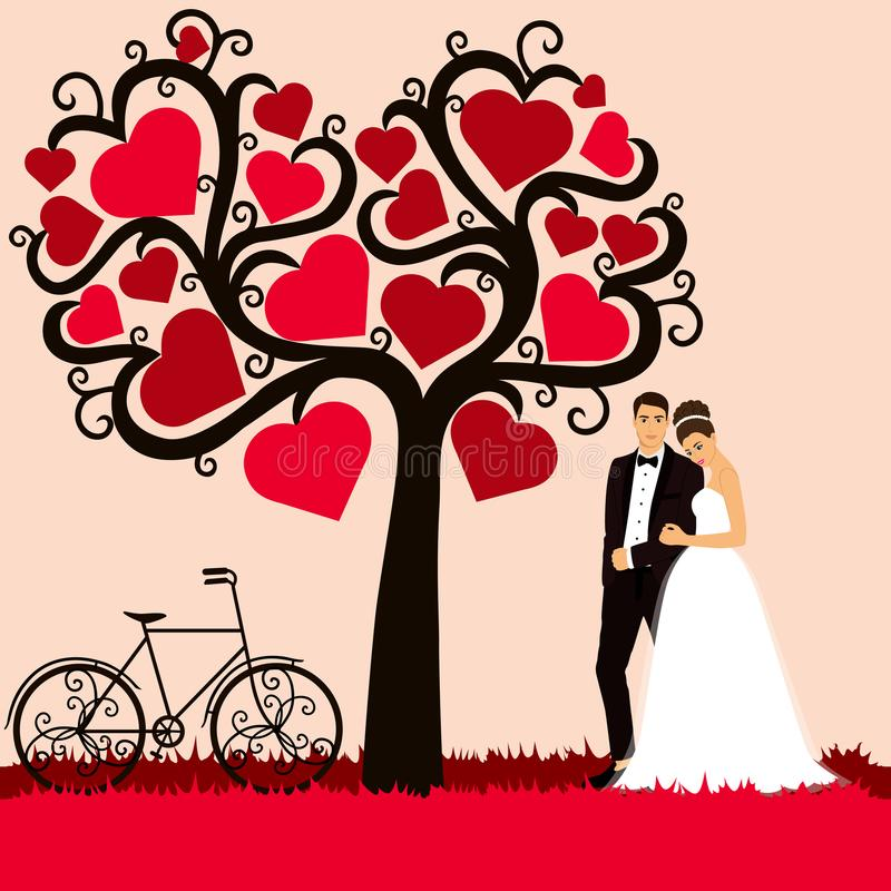 新娘仪式教会新郎婚礼 与新婚佳偶的喜帖 向量例证