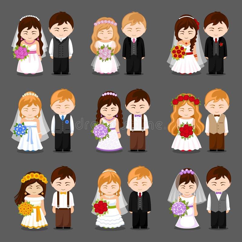 新娘仪式教会新郎婚礼 大套新婚佳偶夫妇 向量例证